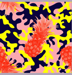 Camo military in pink yellow color with pineapple vector