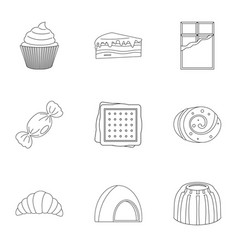 candies icon set outline style vector image