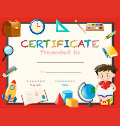Certification template with boy reading book vector