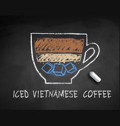 Chalked sketch iced vietnamese coffee vector