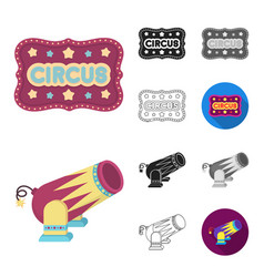 circus and attributes cartoonblackflat vector image