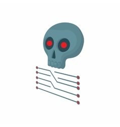 CPU with a skull icon cartoon style vector image