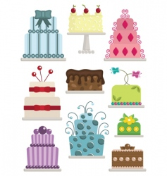 Decorated cakes vector