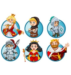 Different fairytales characters on round badge vector