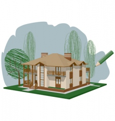 drawn house vector image
