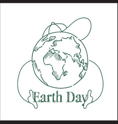 earth day sketch greeting card background happy vector image