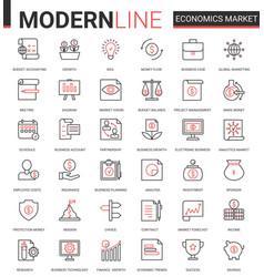 Economics stock market flat line icon vector