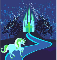 Fairytale landscape with magic castle and unicorn vector image