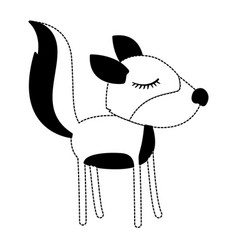 female wolf cartoon with closed eyes expression in vector image