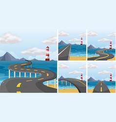 five scenes of road across the ocean vector image