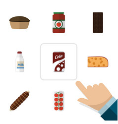 Flat icon meal set of ketchup smoked sausage vector