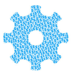 gear collage of dollar and dots vector image