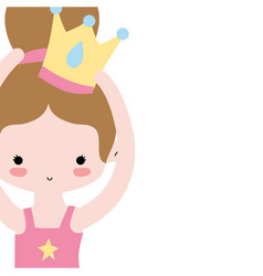 Girl dancing ballet with bun hair design and crown vector