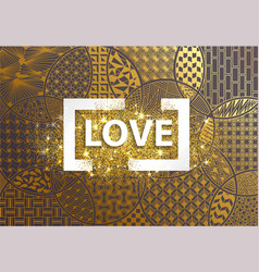 golden background love heart vector image