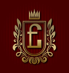 Golden royal coat of arms with e monogram vector