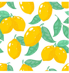 hand drawn lemon pattern lemon tropical fruit vector image