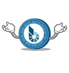Hand up bitshares coin character cartoon vector