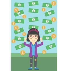 Happy businessman under money rain vector