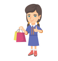 happy caucasian girl holding shopping bags vector image