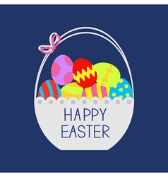 Happy Easter Basket full of colored eggs Flat vector image