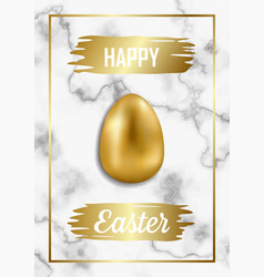 Happy easter luxury greeting card on white marble vector