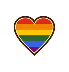 Heart in lgbt color icon flat style vector