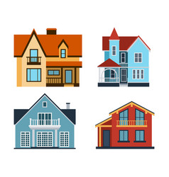 houses front view building vector image