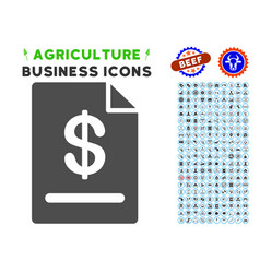 Invoice icon with agriculture set vector