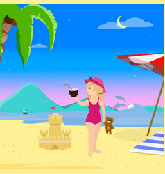 Little girl on beach night time summer vacation vector