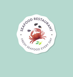 Logo seafood crab shells watercolor vector