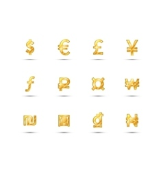 Main currency signs icons made of shiny gold vector