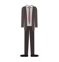 male clothes with suit and shirt with tie and pant vector image