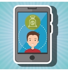 Man smartphone with bag money isolated icon vector
