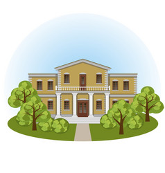 Manor house in spring landscape vector