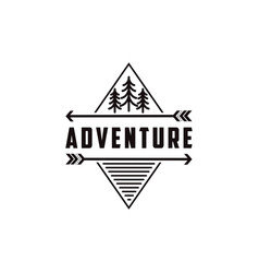 minimalist outdoor adventure badge logo vector image