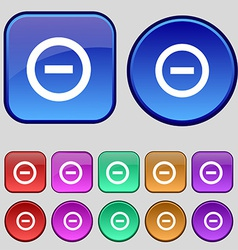 Minus Negative zoom stop icon sign A set of twelve vector