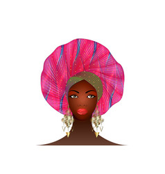 Nigerian turban portrait african american woman vector