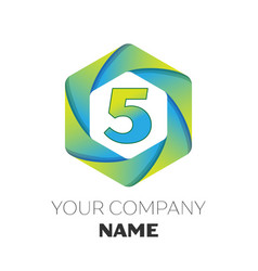 number five symbol on colorful hexagonal vector image