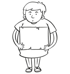 paper template with fat boy holding it vector image