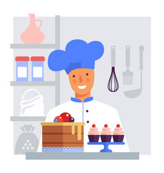 pastry chef with cake and cakes flat vector image