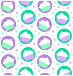 Pattern of mint and violet cakes vector