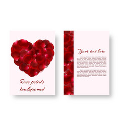 Red heart with rose petals vector