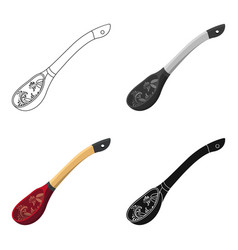 Russian traditional wooden spoon icon in cartoon vector