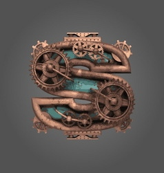 S rusted letter with gears vector