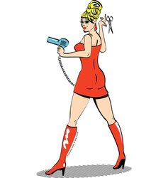 Salon girl with hairdryer vector