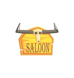 Saloon Sign With Dead Head Drawing Isolated On vector