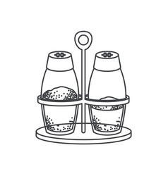 salt and pepper containers monochrome silhouette vector image