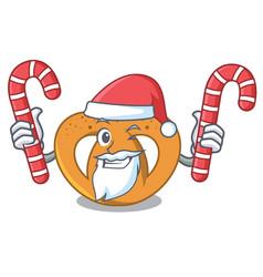 santa with candy pretzel mascot cartoon style vector image