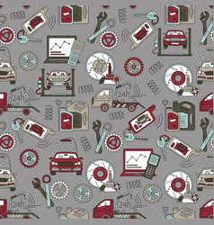 seamless pattern with car service thin line vector image