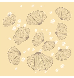 Seashell with pearl on beige background vector